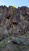 Rock Climbing Photo: The tasty overhanging hand crack below the dihedra...