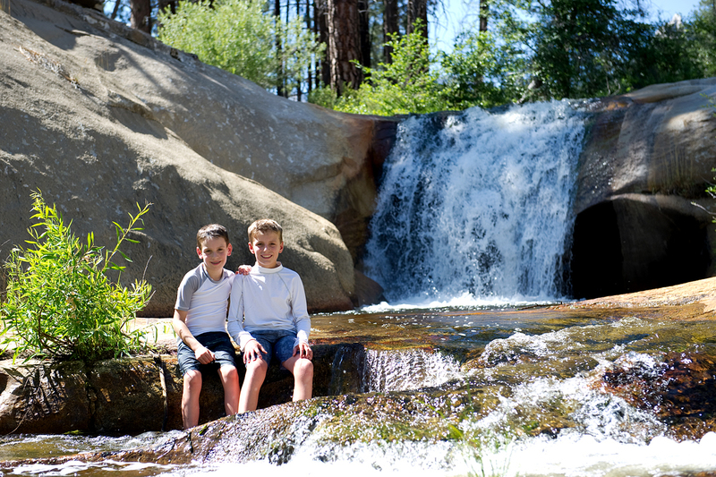 Bryson and Wesley enjoy one of the great rest day activities in the Upper Kern River Canyon around the Needles. Nobe Young Creek is home to some of the finest natural water slides and plunge pools. (Summer 2017)
