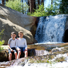 Bryson and Wesley enjoy one of the great rest day activities in the Upper Kern River Canyon around the Needles. Nobe Young Creek is home to some of the finest natural water slides and plunge pools. (Sumer 2017)