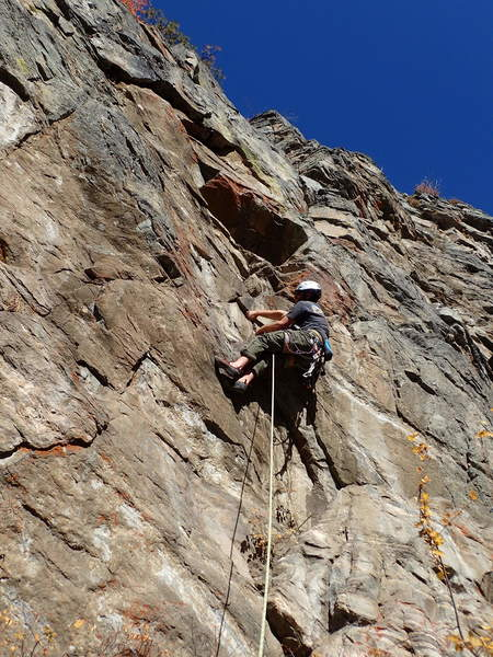 JG at the crux on the first ascent.
