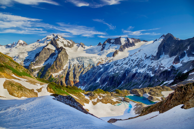 Dome Peak and White Rock lakes as seen from the South Cascade Glacier Col