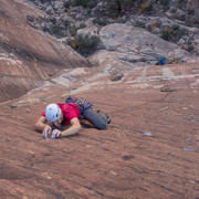 Mark cruxing halfway up the spectacular second pitch of Airhead.