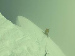 Me on the summit ridge of Artesonraju with less than optimal weather. July 2017