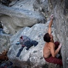 """Nick Lehpron getting close on the gigantic first move (the crux) of """"Absent Minded"""". <br> Photo : Chris Kipka"""