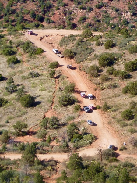Traffic jam of jeeps. Photo taken from the top.