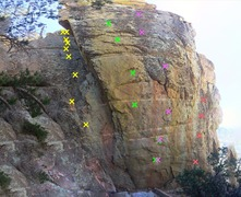 Left Routes on Blazing fin <br />(Yellow) 7 Degrees in the Shade <br />(Green) The Partizan <br />(Purple) 96 Degrees in the Shade <br />(Red) Unknown 5.10-