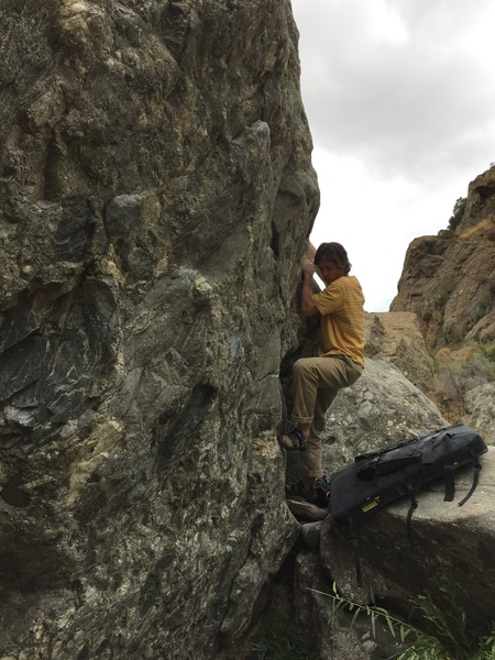 """Kyle Gray about to push over final bulge on to the slab top out of """"Serendipity"""""""