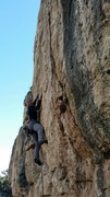 Kat at bolt #5, starting the technical crux sequence.