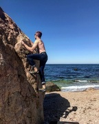 Me climbing Bo-Jangle with the view of the LI Sound