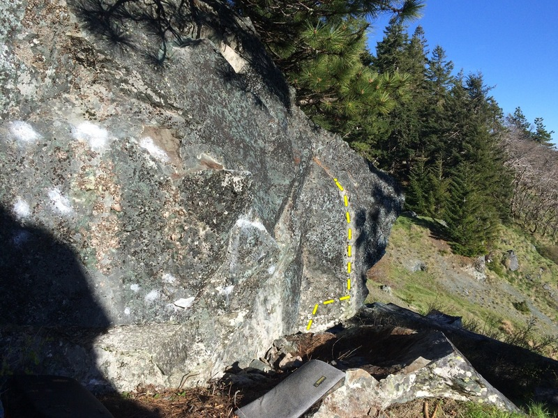 Good profile of the boulder