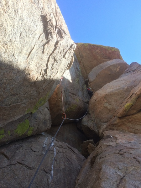 Getting up towards the airy roof move -- would recommend being a strong 5.9 Granite Mtn leader for the moves.