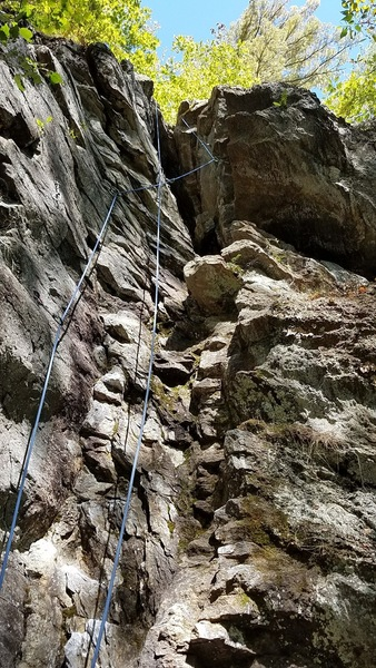 Fun stemming climb on good rock with solid hands and feet. Bring an alpine draw or two with you to reduce rope drag and careful not to go too deep into the chimney or getting out will be tough. What your foot around the rope!