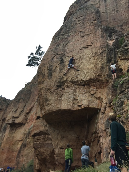 """This is """"Stud with a Rug,"""" 12a, a quality route with very thin and interesting moves. """"Rally Monkey,"""" 12b, veers further left after the third bolt of this. The climber on right side of photo is on """"She's Got A Full Set Of Camalots,"""" 10c."""