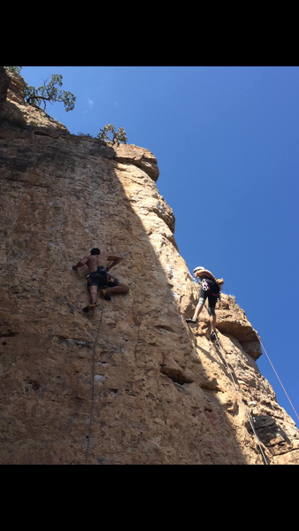"""The climber on the left is on """"Metropolis,"""" 11d. The climber on the right is on """"Miller Time,"""" 11a/b. Both are excellent routes."""