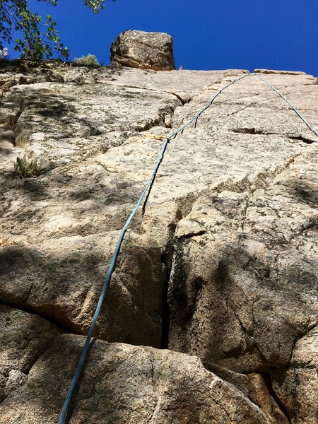 A few nuts and some cams are all you need to lead and set up an anchor on this climb.