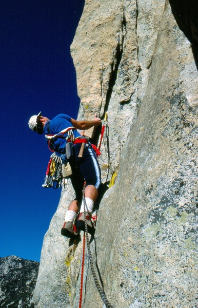 Bob Gaines on the first ascent of The Bat, 1987. 
