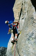 Rock Climbing Photo: Bob Gaines on the first ascent of The Bat, 1987. ...