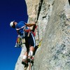 Bob Gaines on the first ascent of The Bat, 1987. <br> <br> Around the corner to the left is the fingertip lieback that leads up to the bolt ladder.