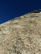 Looking up at Ten Years After. Nice slab climbing.