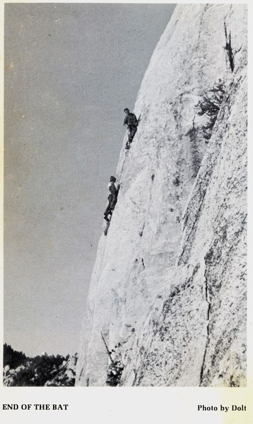 """When I was young I was inspired by this old photo from Chuck Wilts' guidebook, and the obvious challenge that the caption threw down, wondering, will the rest of it go?<br> <br> Photo by William """"Dolt"""" Feuerer"""