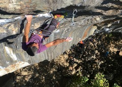 Ian W on the upper 5.12 moves of Cote D'azure