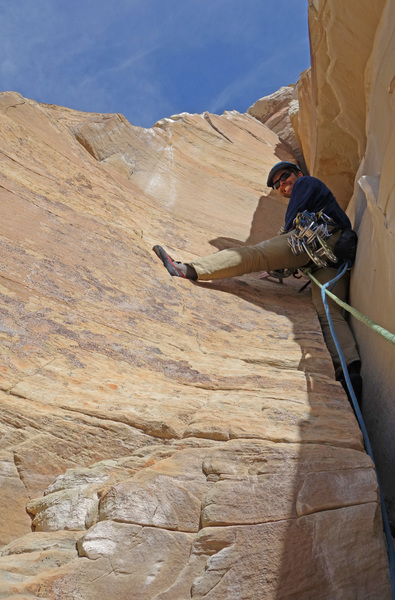 Enjoying the free climbing of pitch two.