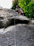 John finishing up on the 8th pitch of Cinquetti's Via Normale