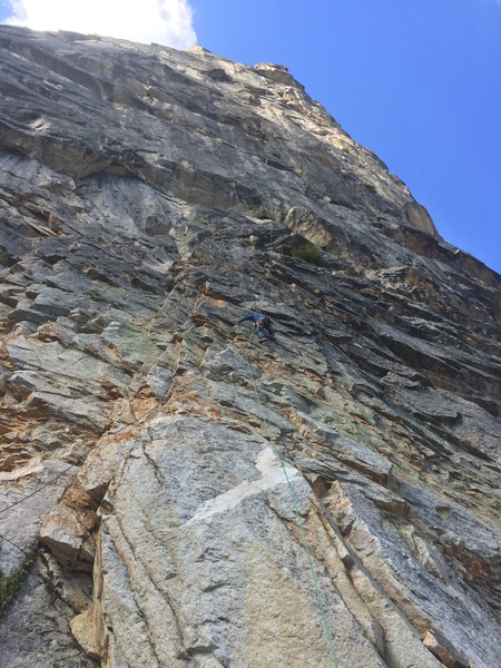 The first pitch. Climb clean face past several bolts. If you're not climbing past bolts and there's choss everywhere, you're in the wrong spot.