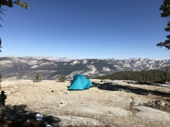 Campsite on Mount Clark, looking over Little Yosemite Valley, toward the Cathedral range