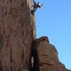 Mike Arechiga on, Low-hanging fruit. 5.10a, fun new route.