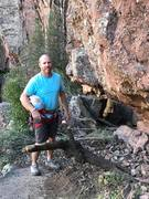 Rock Climbing Photo: Aaron sports a Webbing harness on lead for the FA....