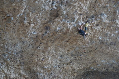 Rock Climbing Photo: Some feet first action in a sea of cobbles.