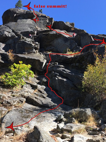 R&D route.  There is one more crack to climb (easier) after the false summit in the photo. To walk-off, follow cairns off to the back left.
