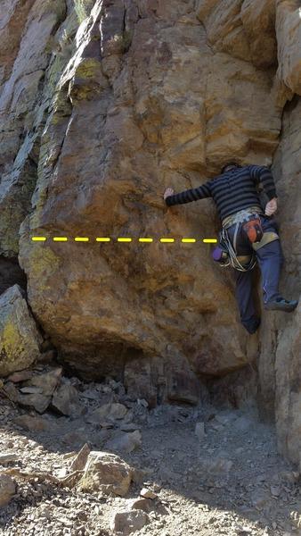 Jimmy making the crux traverse