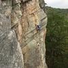 climber on Birdland, taken on rappel.