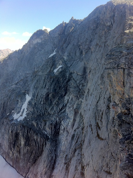 Looking at central tiered slabs middle of wall on Kagevah Peak