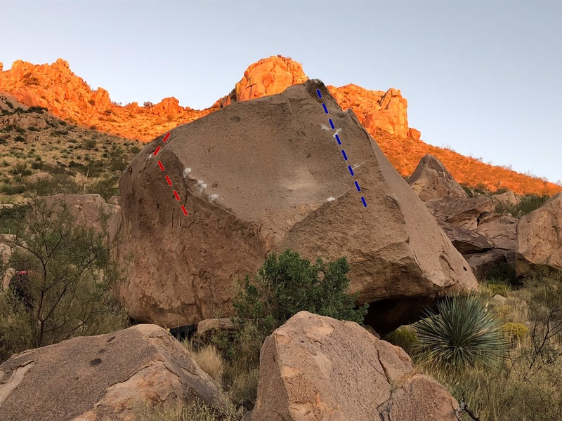 Milkshake boulder, Strawberry Milkshake is the left red line, and Period Piece is the right blue line. The Jew Boulders are in the background up the slope.