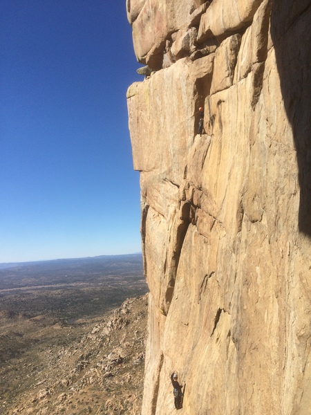 After the traverse and into the blocky section before the belay ledge at the base of the final, stellar dihedral.