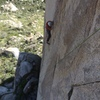 Gabe working the crux on his red point. Sweet to see (I was hanging on Twin Cracks)!