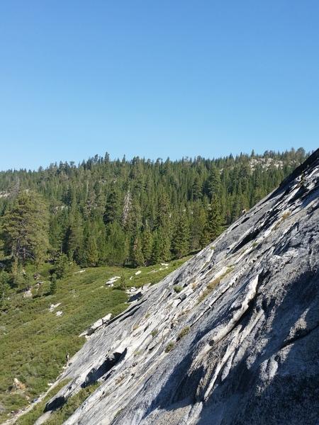 Climber nearing the top.