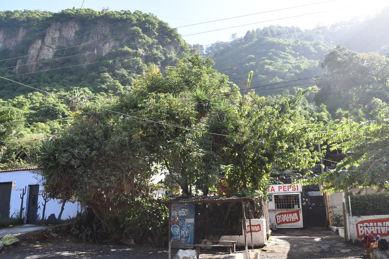 1. View of the crag from the street. You can also see julios store where climbers go in.