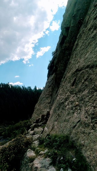 Climbing Moby Grape, the belay is below the crack, awesome day of climbing.