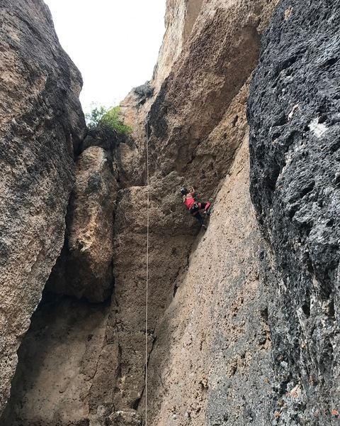Myself climbing Sexorcisto on TR. Fun climb!