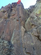 Rock Climbing Photo: Both anchors are circled in red.  The newer anchor...