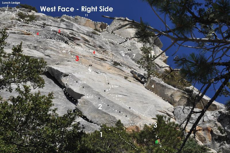"""West Face, Right Side<br> <br> 1. The Slab <br> 2. Point Blank <br> 3. Crimes of Passion (with Direct Start and Ten Years After P2 link-up) <br> 4. Fingertrip <br> 7. El Camino Real <br> 11. Jenson's Jaunt"""""""