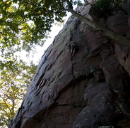 Classic crack climbing. Just above the overhang in this pic