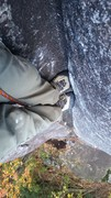 "Rock Climbing Photo: Foot ""jams"" in the crux"