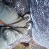 "Foot ""jams"" in the crux"