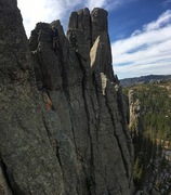 Sweet views! The route goes up the crack to the right of the belayer.