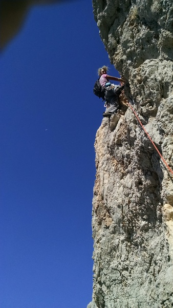 This is me with another bad hair day on the last  pitch.<br>  It big holds but it is tricky figuring out how to grab them!